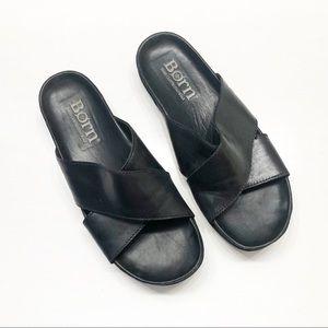 Born Black Leather Slides, Sz 8